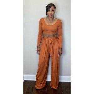 2 piece crop top and high waist palazzo pants